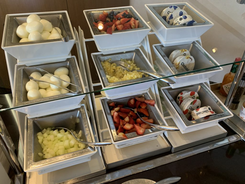 Hard boiled eggs, fruit, and yogurt at American Airlines' Admirals Club lounge in San Francisco.