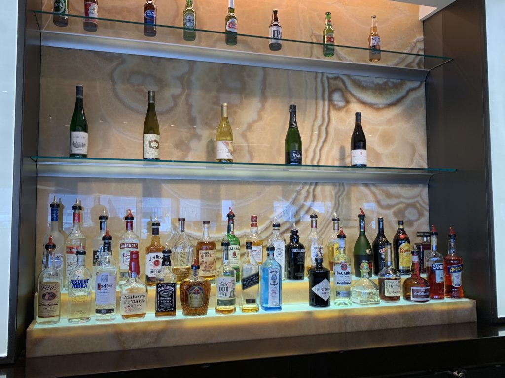 Bar selection at the Admirals Club SFO