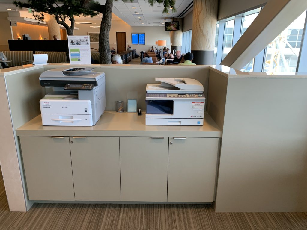 The printers and copiers at the Admirals Club in San Francisco.