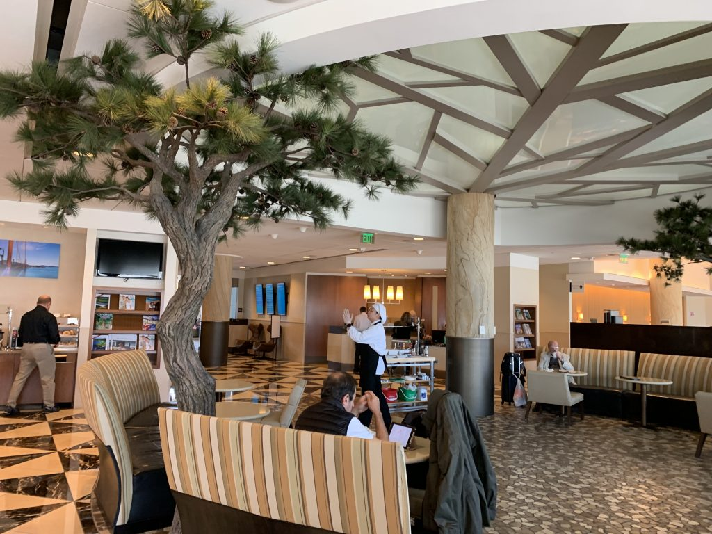 Admirals Club SFO atrium area with trees