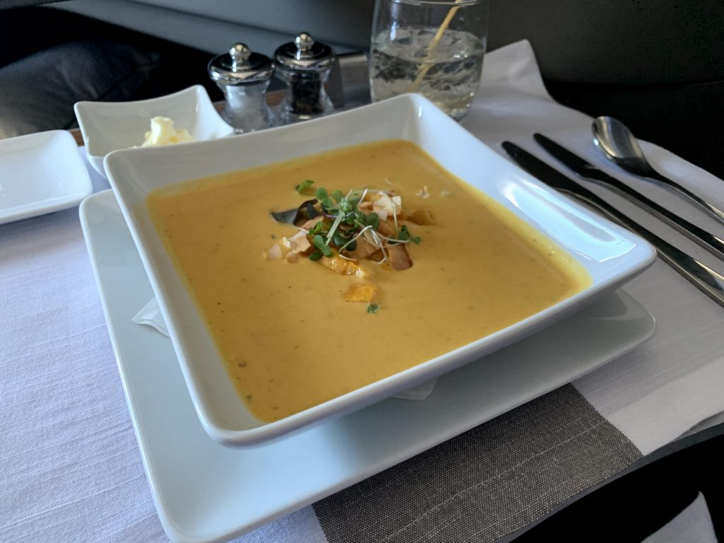 Delicious butternut squash served in AA transcon first class.