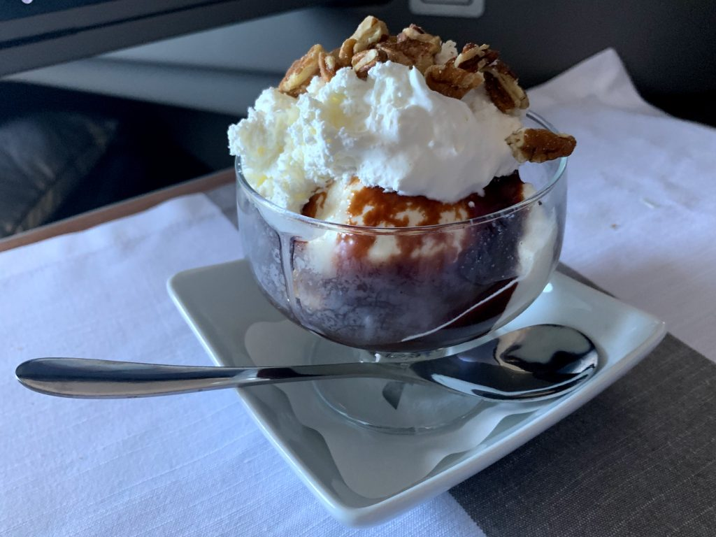 Chocolate sundae from American Airlines, made with Haagen Dazs ice cream.